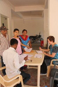 Kristine and Mitesh checking in applicants for their interviews on June 7. photocredit: Giannina Gaspero-Beckstrom